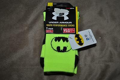 Under Armour Alter Ego BATMAN Crew Socks Youth Large Neon Yellow/Black NWT