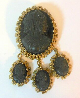 Vtg Black Glass CAMEO Mourning Pin Brooch Victorian Revival Czechoslavakia