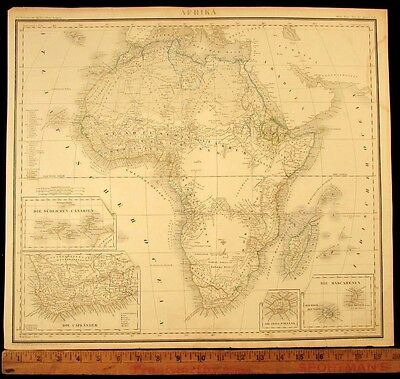 Africa large folio detailed insets 1856 Leipzig rare antique hand color map
