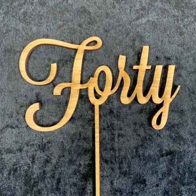 Wooden 40th Birthday Cake Topper, Rustic, Anniversary Forty cake decoration (d2)
