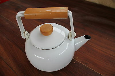 Danish Styled White/blue Enameled Stove Top Kettle