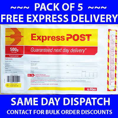 EXPRESS POST 500gm 500g 500gram PREPAID SATCHELS PACK OF 5 FREE DELIVERY