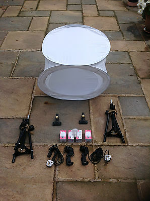 Photo Studio Set In One- Large Tent,back Drops Lighting Tripods  Kit