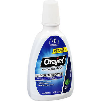 Orajel Antiseptic Rinse For All Mouth Sores -16 Ounce