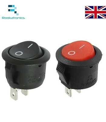 14mm Diameter Small Round Rocker Switch Black or Red 2 Pin ON-OFF - Free Post