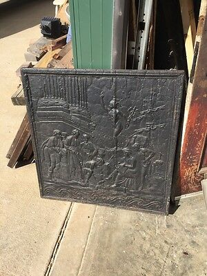 Antique Cast-Iron Figural Fire Back French 32 Inch Wide By 32 Inch High