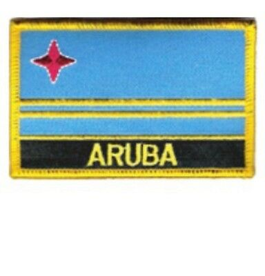 """ARUBA FLAG EMBROIDERED PATCH WITH NAME - IRON-ON - NEW 2.5 x 3.5"""""""