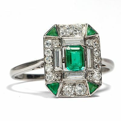 WEISSGOLD ART DÉCO DIAMANT & SMARAGD RING um 1930 Emerald Diamond Ring gold