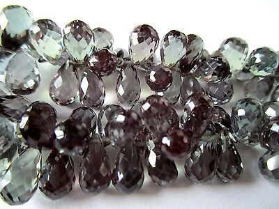 Purple Teal Green lab created Alexandrite faceted teardrop briolette- 8 stones
