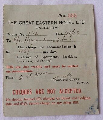 Vintage The Great Eastern Hotel Receipt Calcutta India 50's 60's