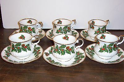 Lot Of 5 Rosina Queens Yuletide  Cups And Saucers