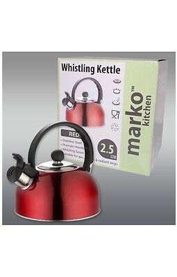 Red Kettle Whistling Kettle Electric Gas Hob Stove Camping 2.5L Stainless Steel