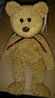 RARE Curly the Bear Ty Beanie Baby with errors.