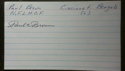 PAUL BROWN Authentic Autographed Index Card. Great Browns coach. Football HOF