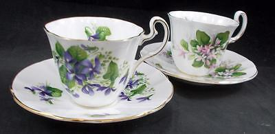 Adderley CANADIAN PROVINCIAL FLOWERS 2 Cup & Saucer Sets Bone GREAT CONDITION