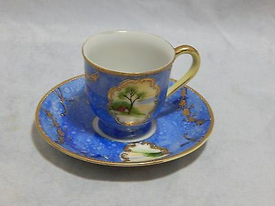 Occupied Japan Porcelain Painted Demitasse Cup and Saucer Set