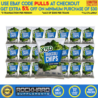 X50 Broccoli Chips Rock Salt Flavour Tribeca Health 20 Pack Tribecca Health