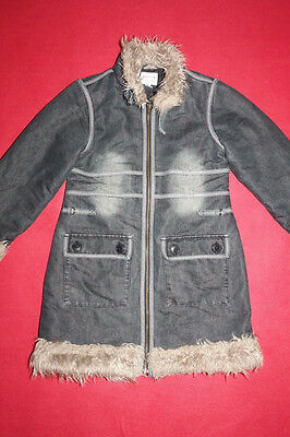 Girl Next Designer Denim Warm Winter Long Coat Size Age 9 - 10 Years Yrs