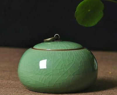 1pc China Longquan Celadon Ceramic Tea Caddy Tin Sealed Canisters