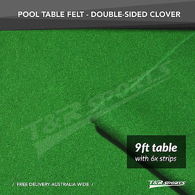 Clover Double-Sided Wool Pool Snooker Table Cloth & 6 X Felt Strips Suits 9''