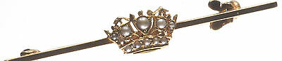 Crown Design Seed Pearl Brooch from our Authentic Vintage & Antique Collection