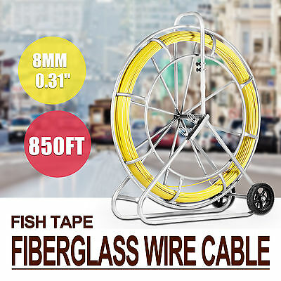 8MM x 850' FISH TAPE FIBERGLASS WIRE CABLE RODDER PULLING TOOL PUSH ROD DUCT