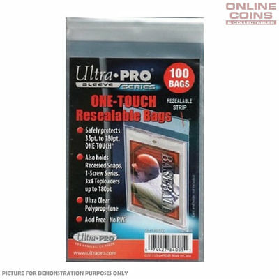 Ultra-Pro ONE TOUCH RESEALABLE BAGS - Ultra Clear - Pack of 100 - #84005
