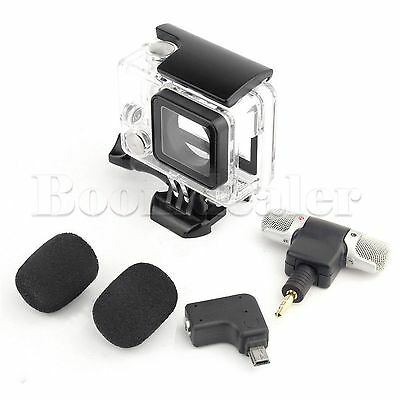 3.5mm External Microphone Adapter Protective Frame Case For GoPro Hero 4 3+#GY