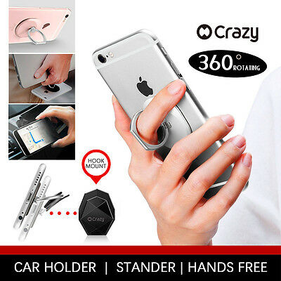 Genuine Crazy Universal Ring Holder Stand with Car Mount Hook for iPhone Galaxy