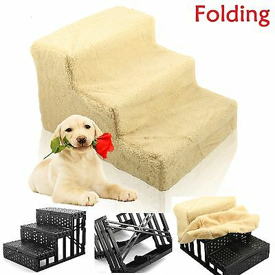 New Pet Dog Ladder 3 Steps Soft Stairs Puppy Washable Cover Ramp Foldable Doggy