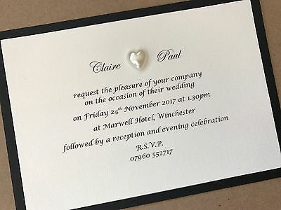 50 x Personalised Handmade Wedding Day / Evening Cards Invitations Pearls Heart