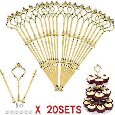 20x2/3 Tier Cake Cupcake Plate Gold Stand Rack Fittings Handle Rod Wedding Party