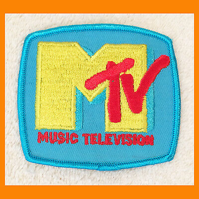 Vintage MTV MUSIC TELEVISION Authentic 1980s Blue Iron-On PATCH unused