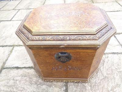 Magnificent Vintage Octagonal wooden chest - highly unusual with inlay