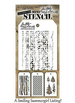 3 Mini Layering Stencils Birch Tree, Woodland Tree & Nordic Tim Holtz Set #21