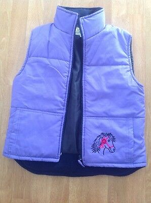 Great British Country Collection Purple Horsey Gilet Uk Size Xl/age 12 Yrs Worn