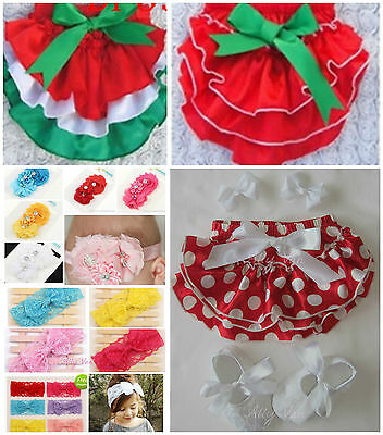 Baby Christmas Bloomer Sets - Nappy Cover, Headband, Lacey Shoes Xmas