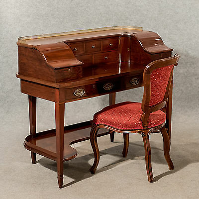 Antique Writing Desk Bureau Victorian Mahogany Quality Bon Heur Du Jour c1850