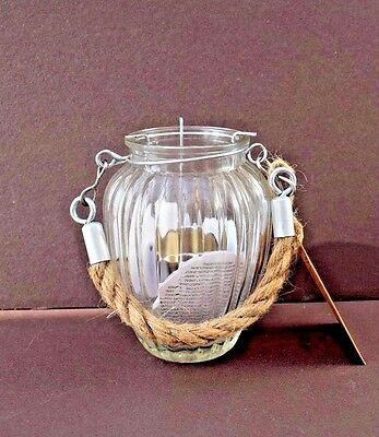 Vintage Style Glass T-Light Candle Holder With Chunky Rope Handle