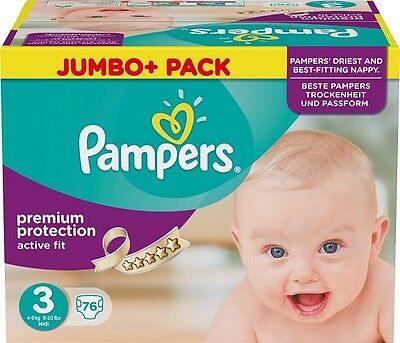 Couches Pampers Active Fit T3 Jumbo  (76 couches)