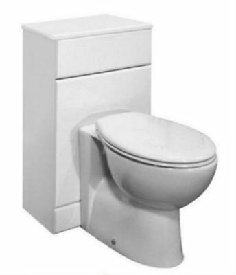 600 x 300mm WC Unit White BTW Pan Set Concealed Cistern Luxury Toilet Seat