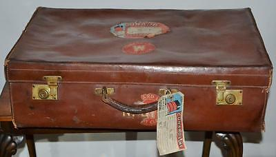 Vintage Leather Suitcase Luggage Steamer Trunk - FREE P&P [PL2555]