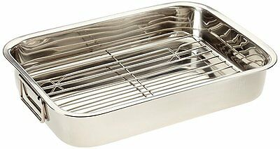 Kitchen Craft Stainless Steel 38cm Roasting Pan with Removable Rack