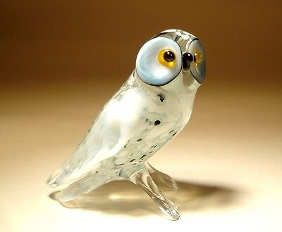 Blown Glass Figurine Art Animal Bird White Polar North OWL