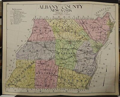 New York, New Century Atlas, 1912 Albany County, Authentic U1#13