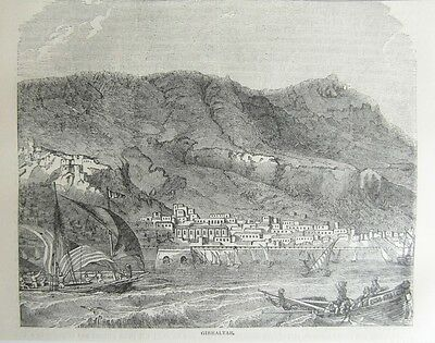 Gibraltar General View 1740 Antique Engraved Print