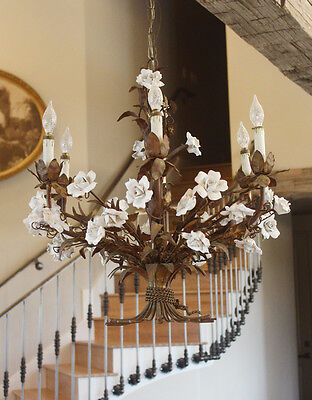 Incredible Xlrg Italian Tole Porcelain Rose Chandelier My Fav!