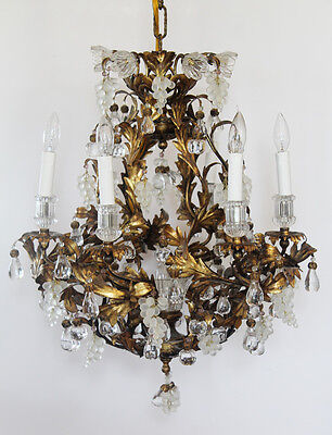 Rare Art Glass Maison Bagues Incredible Antique Murano Gold Gilt Chandelier