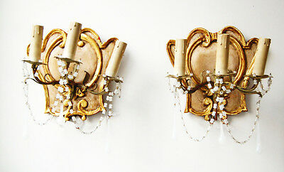 Pair Rare Italian Beaded Florentine Carved Wood & Tole Sconces Opaline Prisms • CAD $1,953.00