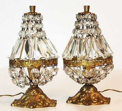 French Pair Antique Crystal Boudoir Lamps Beautiful